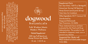 Dogwood Botanicals Flavorless Hemp Supplement. Made with Full-Spectrum Hemp, includes CBD and all beneficial cannabinoids. Grown sustainably in the USA on a family farm.  Try out travel-sized bottle to sample our product or easily take with you if you are on the go. We suggest researching the wellness benefits of full-spectrum hemp and CBD such as relief from stress and anxiety, help sleeping, inflammation reduction, and more.