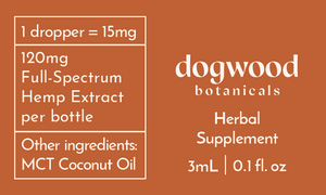 Dogwood 120mg Full-Spectrum Hemp Tincture Label