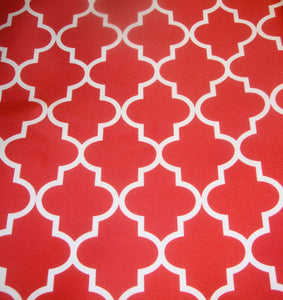 "White Red Moroccan 600 Denier Waterproof Polyester Canvas 60"" Wide 
