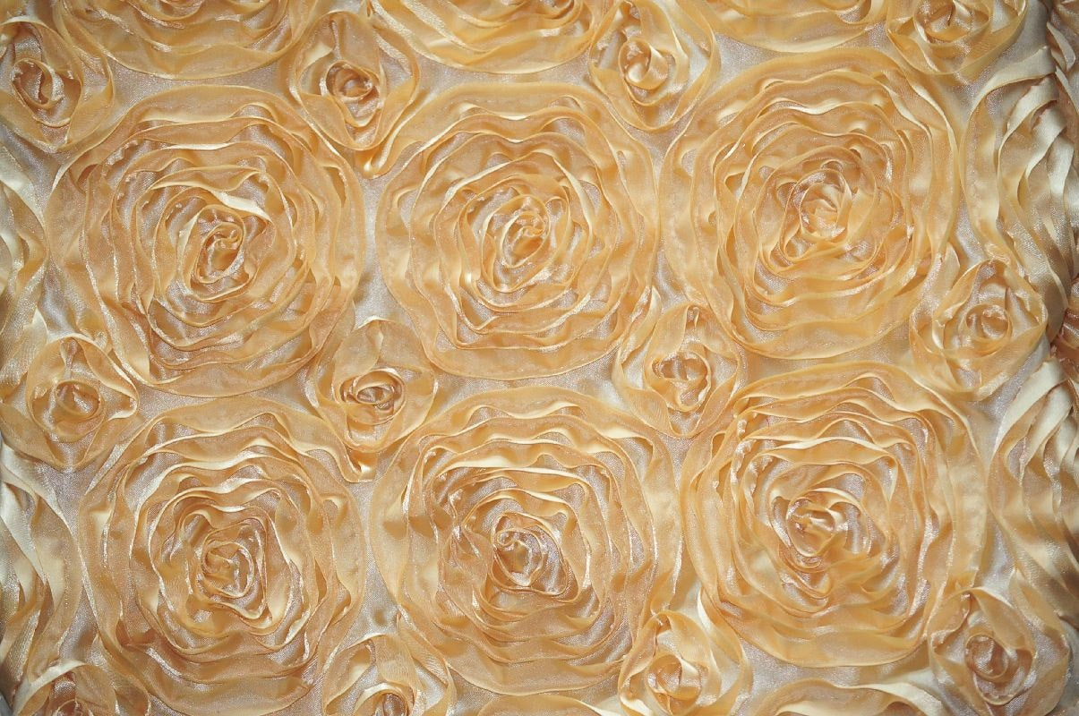 "Gold Floral Satin Rosette 54"" Wide 