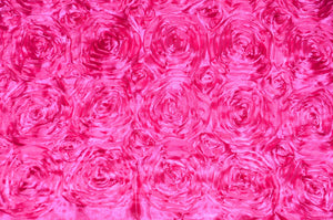 "Hot Pink Floral Satin Rosette 54"" Wide 