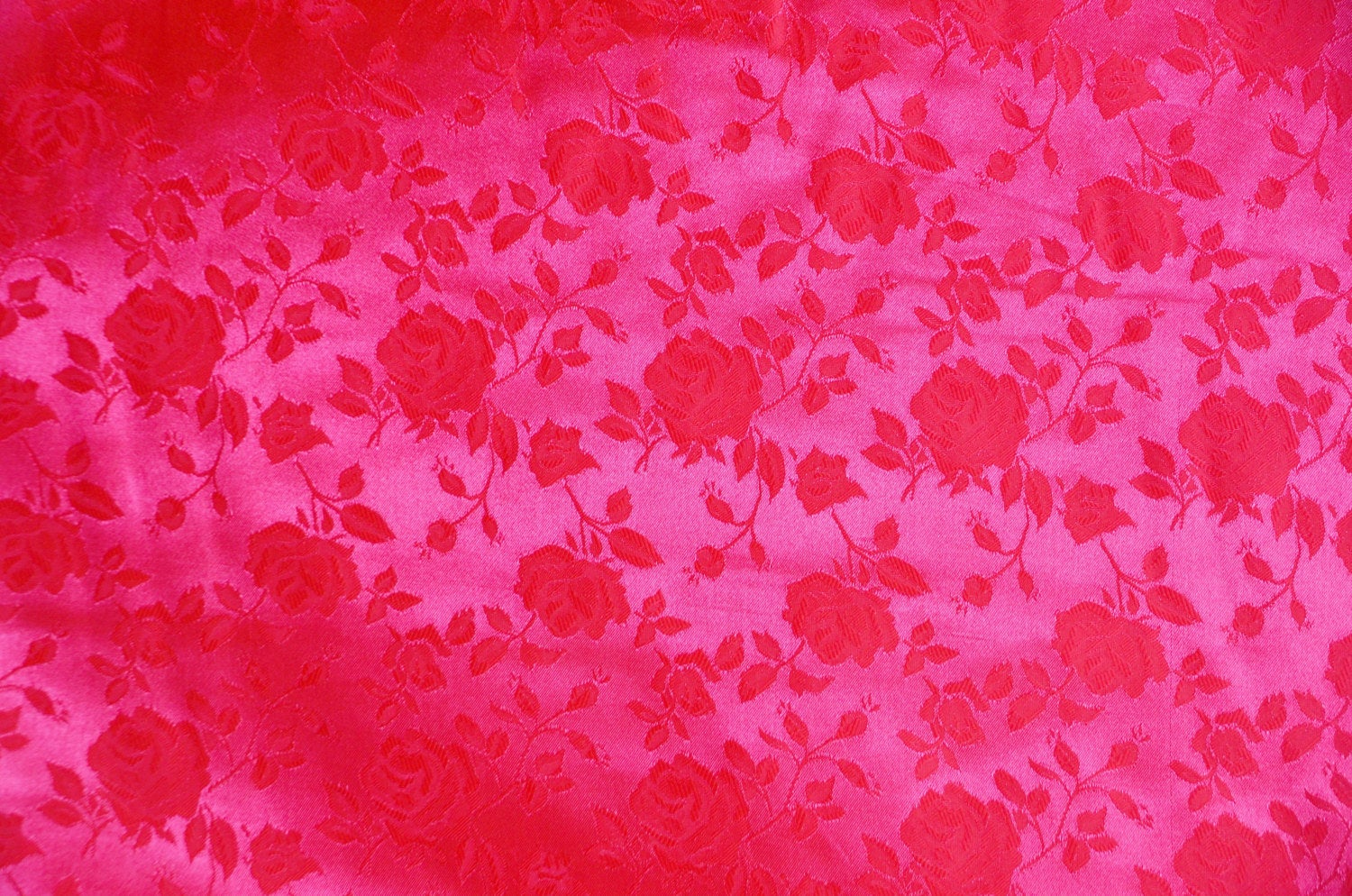 "Neon Pink Floral Jacquard Satin Brocade 58"" Wide 