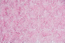 "Load image into Gallery viewer, Satin Pink Rosette wedding dress fabric 54"" wide sold by yard home decor"