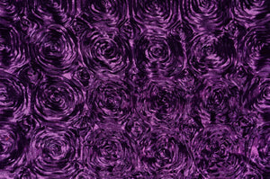 "Plum Pink Floral Satin Rosette 54"" Wide 