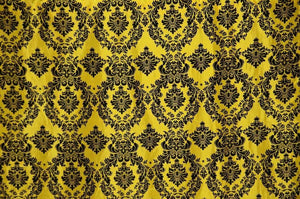 "Yellow Taffeta Black Velvet Flocking Damask 60"" Wide 