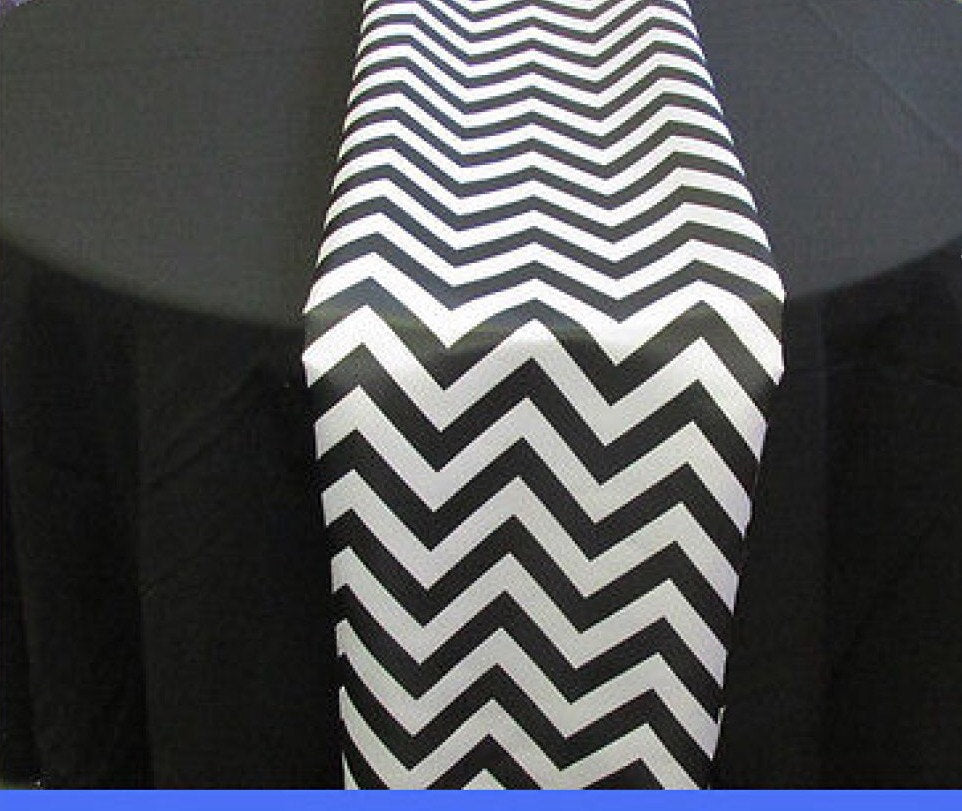 "Set of 4 Black Chevron on White Dull Satin 14"" X 108"" Table Runners 