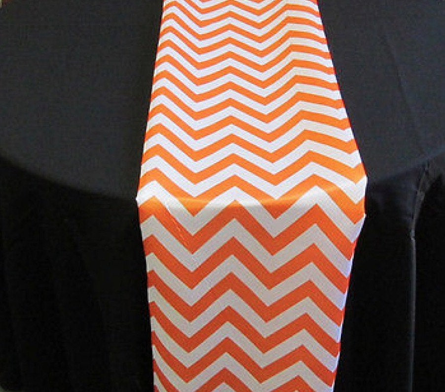 "Set of 4 Orange Chevron on White Dull Satin 14"" X 108"" Table Runners 