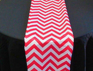 "Set of 4 Red Chevron on White Dull Satin 14"" X 108"" Table Runners 