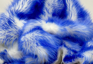 "Set of 2 Royal Blue Tipped White Shaggy Faux Fur 18""x18"" Pillow Cushions 