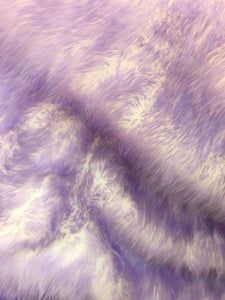 "Lavender Tipped White Shaggy Faux Fur Suede Back 108""x60"" Throw Blanket 