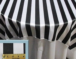 "Set of 15 Black White 2"" Double Stripe 58"" x 58"" Square Table Overlay 