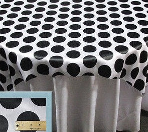 "Set of 6 Black 3"" Polka-Dot White Charmeuse 72"" x 72"" Square Table Overlays 