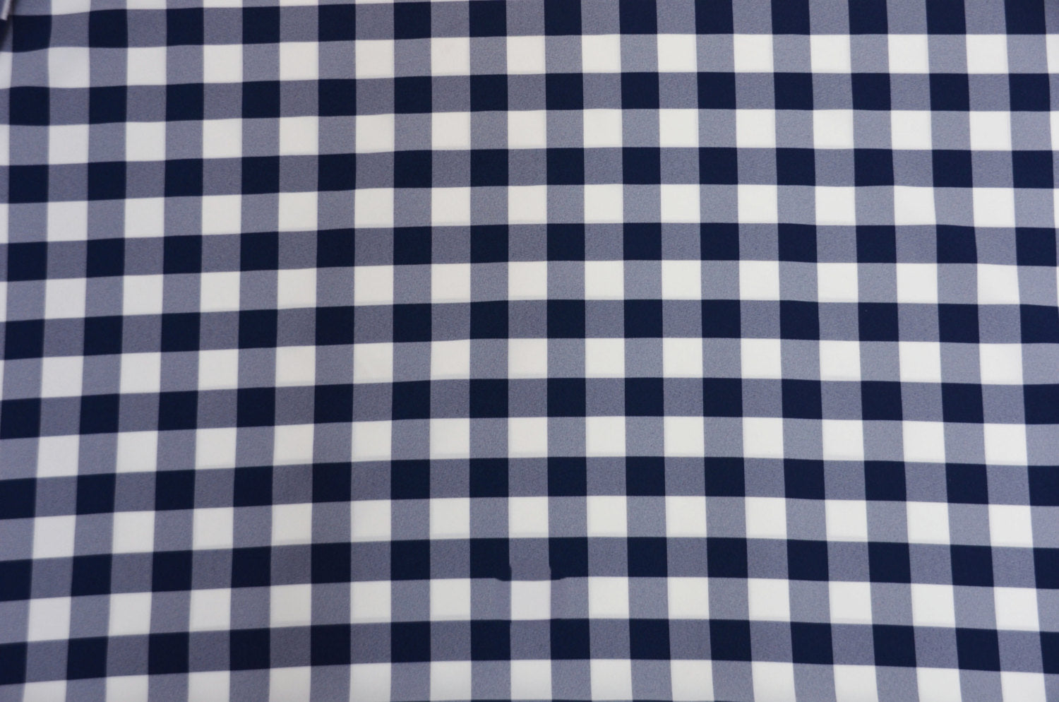 "Navy White Checker Print Gingham Polyester Poplin 59"" Wide 