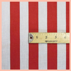 "Red and White 1"" Stripe Printed White Poly Cotton 60"" Wide 