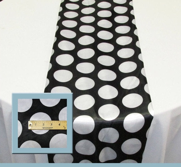 "Set of 4 White 3"" Polka Dot Black Charmeuse 14"" X 108"" Table Runners 