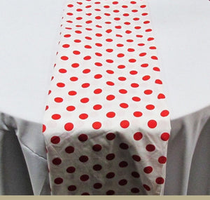 "Set of 4 Red 1"" Polka Dot White Charmeuse 14"" X 108"" Table Runners 
