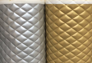 "Shiny Silver Gold Diamond Quilted Faux Leather Vinyl 3/8"" Foam Backing 54"" Wide 