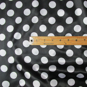 "White 1.5"" Polka-Dot Black Charmeuse Fabric 58"" Wide 