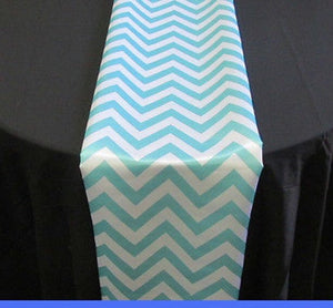 "Set of 4 Aqua Chevron on White Dull Satin 14"" X 108"" Table Runners 