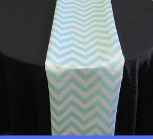 "Set of 4 Mint Chevron on White Dull Satin 14"" X 108"" Table Runners 