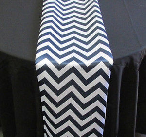 "Set of 4 Navy Chevron on White Dull Satin 14"" X 108"" Table Runners 