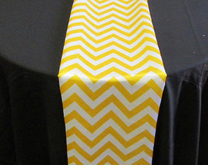 "Set of 4 Yellow Chevron on White Dull Satin 14"" X 108"" Table Runners 