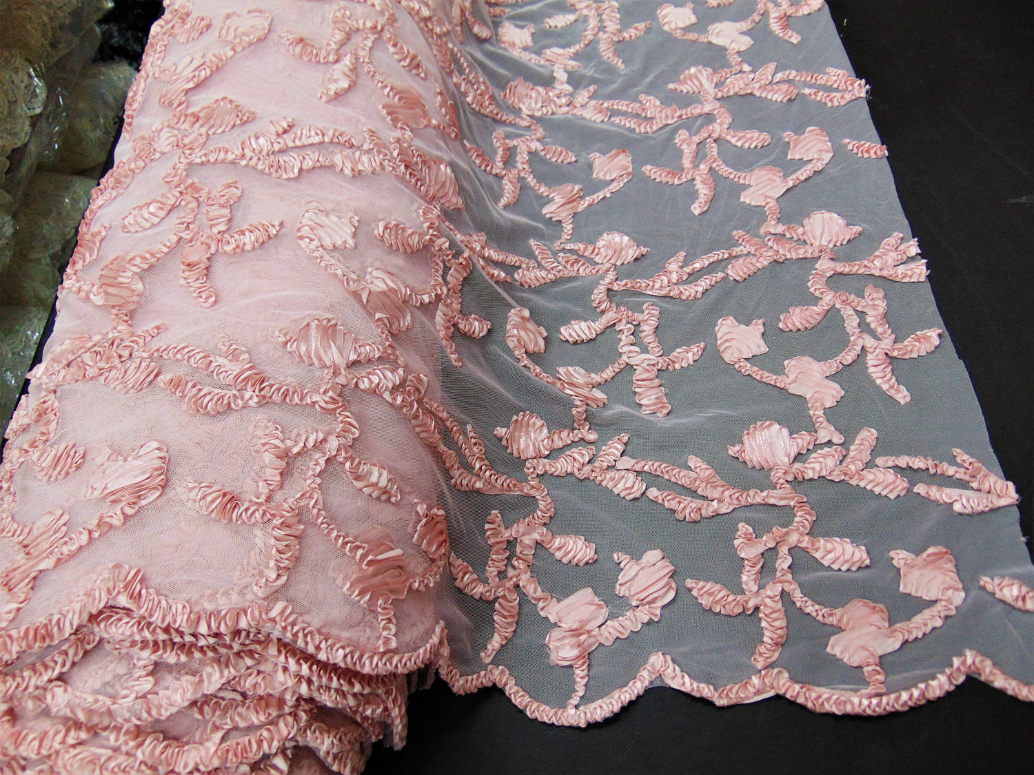 "Blush Ribbon Embroidery Scalloped Edge Lace 50"" Wide 