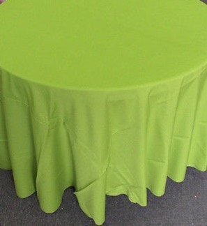"Set of 5 Avocado Polyester Polypoplin Round 108"" Tablecloths 