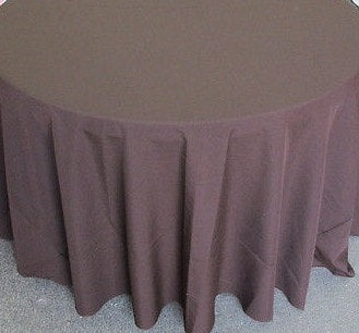 "Set of 5 Brown Polyester Polypoplin Round 108"" Tablecloths 