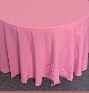 "Set of 5 Dusty Rose Polyester Polypoplin Round 108"" Tablecloths 