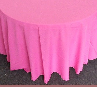 "Set of 5 Pink Polyester Polypoplin Round 108"" Tablecloths 