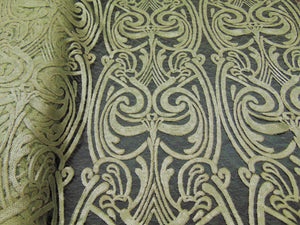 "ART NOUVEAU Damask OLIVE Sequin Mesh Polyester Lace Large Print Fancy Elegant Apparel Wedding Prom Veil Fabric By the Yard 52"" Wide"