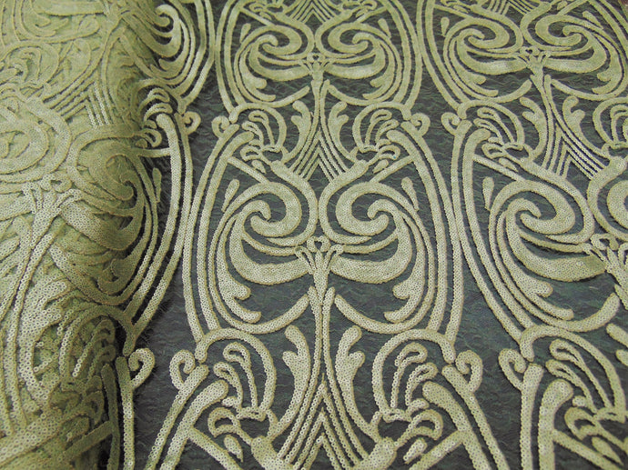 ART NOUVEAU Damask OLIVE Sequin Mesh Polyester Lace Large Print Fancy Elegant Apparel Wedding Prom Veil Fabric By the Yard 52
