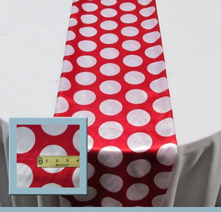 "Set of 4 White 3"" Polka Dot Red Charmeuse 14"" X 108"" Table Runners 