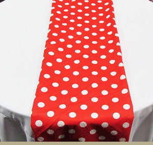 "Set of 4 White 1"" Polka Dot Red Charmeuse 14"" X 108"" Table Runners 