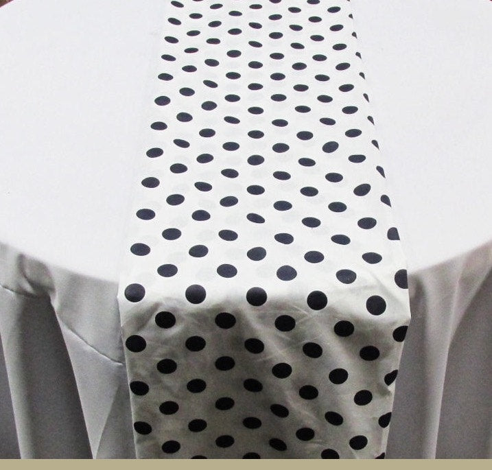 "Set of 4 Navy 1"" Polka Dot White Charmeuse 14"" X 108"" Table Runners 