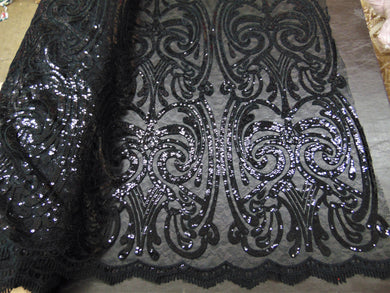 ART NOUVEAU Damask BLACK Sequin Mesh Polyester Lace Large Print Fancy Elegant Apparel Wedding Prom Veil Fabric By the Yard 52