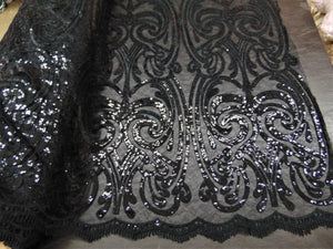 "ART NOUVEAU Damask BLACK Sequin Mesh Polyester Lace Large Print Fancy Elegant Apparel Wedding Prom Veil Fabric By the Yard 52"" Wide"