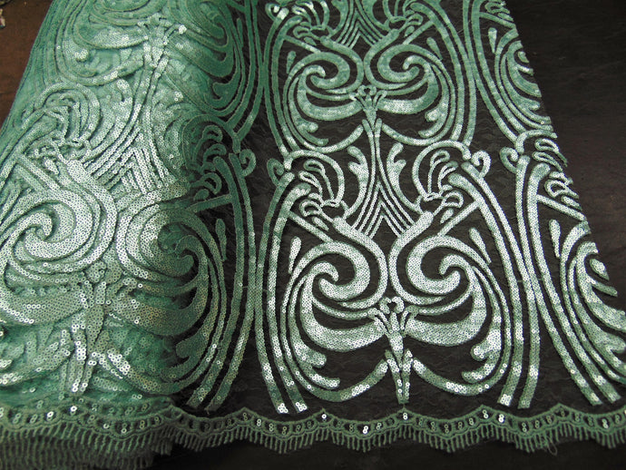 ART NOUVEAU Damask MINT Sequin Mesh Polyester Lace Large Print Fancy Elegant Apparel Wedding Prom Veil Fabric By the Yard 52