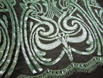 "Load image into Gallery viewer, Mint Art Nouveau Sequin Damask Lace Mesh Back  52"" Wide 