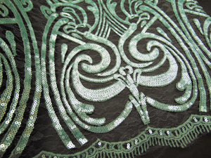 "ART NOUVEAU Damask MINT Sequin Mesh Polyester Lace Large Print Fancy Elegant Apparel Wedding Prom Veil Fabric By the Yard 52"" Wide"