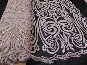 "Nude Art Nouveau Sequin Damask Lace Mesh Back  52"" Wide 