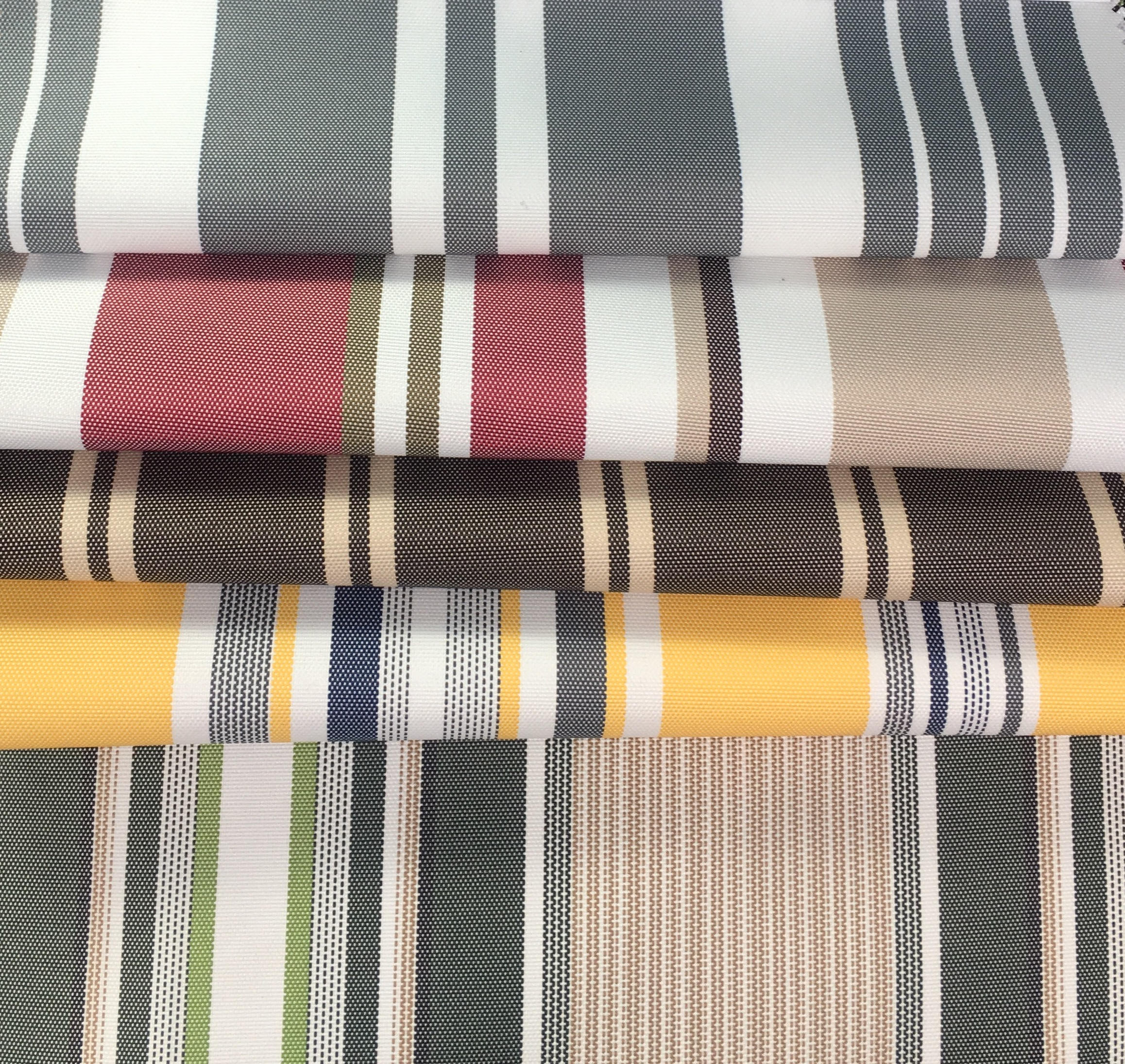 "Brown Thin Stripe 600 Denier Waterproof UV Protection Nylon Canvas 60"" Wide 