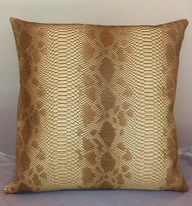 "Set of 2 Caramel Snake Embossed Faux Leather Vinyl 18""x18"" Pillows 