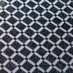 "Load image into Gallery viewer, Black and White 50's Check Foil Nylon Spandex Lycra 58"" Wide 