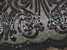 "Load image into Gallery viewer, ART NOUVEAU Damask BLACK Sequin Mesh Polyester Lace Large Print Fancy Elegant Apparel Wedding Prom Veil Fabric By the Yard 52"" Wide"