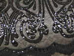 "Load image into Gallery viewer, Black Art Nouveau Sequin Damask Lace Mesh Back  52"" Wide 