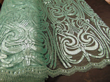 "Load image into Gallery viewer, ART NOUVEAU Damask MINT Sequin Mesh Polyester Lace Large Print Fancy Elegant Apparel Wedding Prom Veil Fabric By the Yard 52"" Wide"