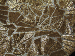 "Second Skin Gold Tiny Sequins Knit Interlock Weave HIGH END Sheer Mechanical Stretch Fabric 54"" Sold By the Yard"