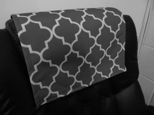 "Grey White Moroccan Print 14""x30"" Recliner Furniture Protector Cover 